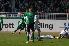 1. Spieltag 2021/2022: Preußen Münster - Alemannia Aachen 2:1. Jubel nach dem 2:1.