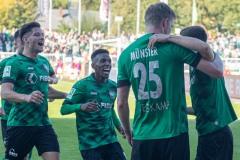 11. Spieltag: SC Preußen Münster - Fortuna Düsseldorf II 2:0. Jubel nach dem 2:0 durch Gerrit Wegkamp.