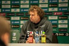 19. Spieltag: Preußen Münster - 1. FC Magdeburg 2:0. Stefan Krämer auf der Pressekonferenz nach dem Spiel.