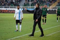 20. Spieltag: Preußen Münster - TSV 1860 München 0:1. Gästetrainer Michael Köllner und Noel Niemann.