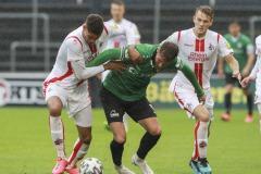1. FC Köln U21 - Preußen Münster 03.10.2020 Foto: S. Sanders  Ricardo-Oliver Henning, Joel Grodowski (Münster)