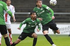 1. FC Köln U21 - Preußen Münster 03.10.2020 Foto: S. Sanders  Osman Atilgan (Münster), Joel Grodowski (Münster)