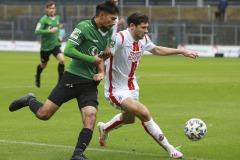 1. FC Köln U21 - Preußen Münster 03.10.2020 Foto: S. Sanders  Osman Atilgan (Münster), Tim Sechelmann