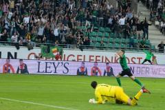 7. Spieltag 2021/2022: Preußen Münster - RW Essen 2:3. Thorben Deters jubelt nach seinem 1:0.