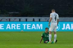 7. Spieltag 2021/2022: Preußen Münster - RW Essen 2:3. Thorben Deters muss raus, der Oberschenkel machte zu.