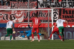 9. Spieltag: Hallescher FC gegen Preußen Münster. Tor zum 2:1. Halle trifft durch Bentley Baxter Bahn.