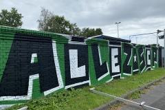 Graffiti am Preußenstadion (Marathontor und Eingang).