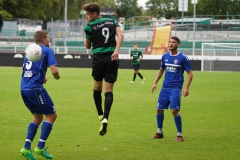 Oberliga Westfalen, 4. Spieltag: Preußen U23 gegen Westfalia Herne 2:0. Marcel Hoffmeier nach dem Kopfball.