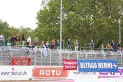 Oberliga Westfalen, 4. Spieltag: Preußen U23 gegen Westfalia Herne 2:0. Der Herner Block.
